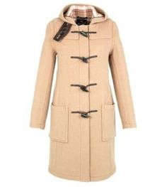 Womens Gloverall Slim Fit Duffle Coat - Tan