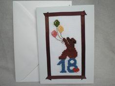 Glückwunschkarten - Gestickte Karte zum 18. Geburtstag, Klappkarte - ein Designerstück von Pfiffiges bei DaWanda