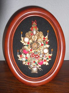 Framed Vintage Jewelry Christmas Tree Art. Love the candles