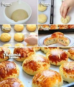 Real Karaköy Poğaçası Recipe, How To . (With Video) - Woman Recipes - tarifler Cooking Bread, Cooking Recipes, Turkish Sweets, Bread Shaping, Turkish Kitchen, Dessert, Turkish Recipes, Western Food, Snacks