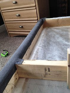 Create your own bedframe by just wraping 2 x SUCH A GREAT IDEA! I hate it when the bed skirt shifts! TOTALLY solves the problem :) DIY Master bedroom - instead of bed skirt! Closet Bedroom, Home Bedroom, Bedroom Decor, Bedrooms, Furniture Projects, Home Projects, Diy Furniture, Diy Headboards, Headboard Ideas