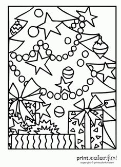 Christmas Tree Gifts Coloring Page