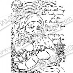 Stampendous - Cling Rubber Stamp - Santa Collage