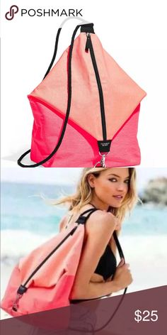 Victoria's Secret Pink Neon Sling Bag Beach Victoria's Secret Pink Neon Sling Bag Beach Gym Backpack Tote Purse new PINK Victoria's Secret Bags