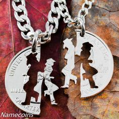 "Cowgirl Jewerly, His and hers Cowboy necklaces, Matching set, hand cut coin | would be a very nice and personal gift to give him and it could be your ""something new"" you can wear."