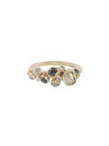 Diamond Cluster Ring with Raw White Diamond