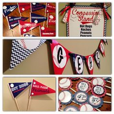 baseball+concession+banner+for+a+baby+shower | ... banners, cupcake toppers, food sign pennants and a concession stand