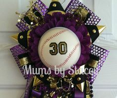 Homecoming garter 2013 baseball crown - Mums by Stacey