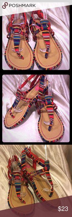 K9 by Rocket Dog striped colored Thong sandals 10 K9 by Rocket Dog multicolored striped Thong sandals size 10 GUC Rocket Dog Shoes Sandals