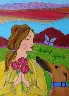 Kindred Spirits :: I love dogs. This painting was inspired after my adopted retired racing greyhound, Mia.
