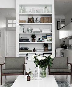 6 Sensitive Clever Tips: Extreme Minimalist Home Living Rooms colorful minimalist home white walls.Minimalist Home Plans Living Rooms. Best Interior, Home Interior, Stylish Interior, Monochrome Interior, Interior Walls, Home Living Room, Living Spaces, Kitchen Living, Living Area
