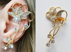 Shop put  favorites, we often have discounts and promotions! Pls, keep an eye on the store - https://www.etsy.com/ru/shop/EarringsEarcuffs      I make a gift with every order :)      ear cuff ear clip the top mount, bottom mount bolt      For those who want to get a unique and unusual decoration, created by the size of Cuff in all ear (in the photo). earrings design is quite complex, and clearly say what the plant depicted in the master composition is quite problematic. However, there is no…