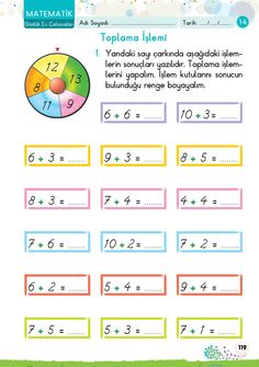 1. Sınıf Konu Anlatım GÜNLÜK EV ÇALIŞMALARI Kindergarten Worksheets, Math Activities, First Grade, Grade 1, Dyscalculia, Working With Children, Fun Math, English Grammar, My Books