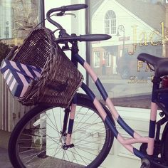 Pink & Navy Blue Striped Bike