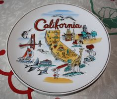 Vintage California State Decorative Plate by FelicesFinds on Etsy