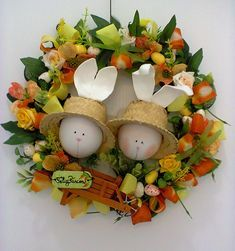 Fotos/Guirlandas: Katia Costa Fone: 91 91792376 Funny Bunnies, Spring Is Coming, Easter Crafts, Grapevine Wreath, Easter Bunny, Tablescapes, Diy And Crafts, Wreaths, Crafty