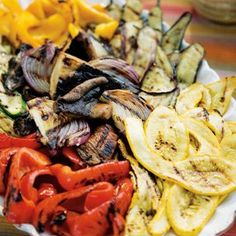 Grilled Vegetable Antipasti. I make grilled veggies a lot. Marinate them first which helps to keep them from being all dried out.