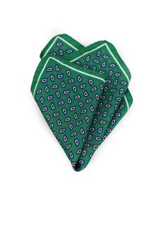 Modern Paisley Pocket Square in Greens.