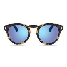 Illesteva Leonard Matte Tortoise Sunglasses with Blue Mirrored Lenses