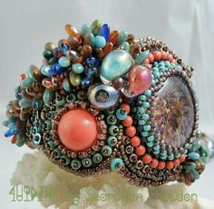 The  Bahamas Textured Bead Embroidered Cuff by #4uidzne