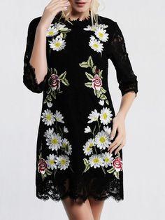 Black 3/4 Sleeve Embroidered Lace Mini Dress