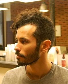 Short Curly Haircut for Men: Long Buzz Cut with Hawk Top - Hairstyles Weekly Boys With Curly Hair, Black Curly Hair, Curly Hair Cuts, Long Curly Hair, Short Hair Cuts, Curly Hair Styles, Curly Short, Male Haircuts Curly, Cool Haircuts
