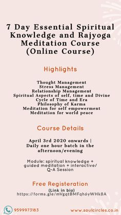 Join us for a one hour daily course in learning spiritual knowledge and guided meditation from the comfort of your home! Click the link in bio to register for free Rajyoga Meditation, Online Meditation, World Peace, Stress Management, Spiritual Quotes, Counseling, Karma, In This World, Philosophy