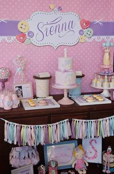 cute as a button birthday dessert table