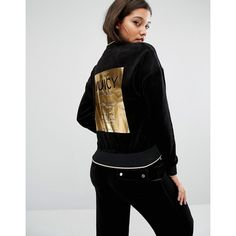 Juicy Couture Westwood Jacket (400 ILS) ❤ liked on Polyvore featuring outerwear, jackets, black, bomber style jacket, zipper bomber jacket, embroidered jacket, embroidered leather jacket and leather jackets