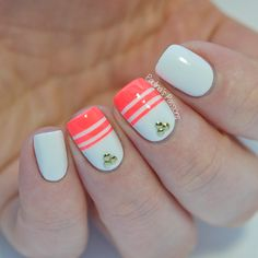 Neon Stripes Nail Art by Paulina's Passions