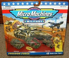 Micro Machines Team Iron Eagle #5 Military Collection by Galoob Micromachines. $44.99. Includes Merkava MK3 Tank, M730A1 Chaparral Assault Vehicle, Traxon Raider and 2 Special Forces Troops!. Custom Display Packaging!. The Original Scale Miniatures!  The approximate size of a Micro Machines vehicle is 1.5 inches long!. From the Freedom Force Series!. Micro Machines Team Iron Tiger #5 Military Set!. Produced by Galoob in 1995.  Rare.  The approximate size of a Micro Machines vehi...