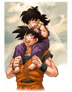 Goku & Gohan, Dragon Ball Z artwork by まくまく Dbz, Goku And Gohan, Dragon Ball Gt, L Anime, Anime Art, Fanart, Bd Comics, Father And Son, Manga Art