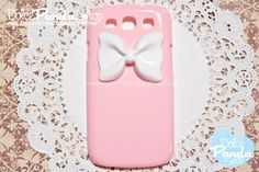 Samsung Galaxy s3 i9300  Pastel Pink  Cute Candy Color  Hard Cover Plastic Phone Case with Large Glam Bow : Galaxy SIII