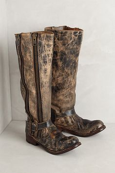 Anthropologie Tango High Boots Size 6.5, By Bed Stu, Distressed Leather