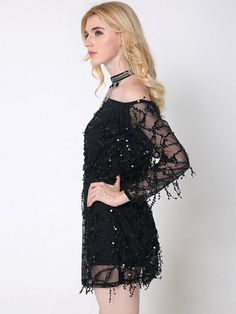 Lztlylzt Women Sexy Off-shoulder Sequins Tassels Mesh Long Sleeve Mini Dress - NewChic