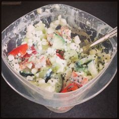 Cottage cheese, diced cucumber, red pepper, avocado, and chia seeds. Maybe use Greek yogurt? Clean eating!