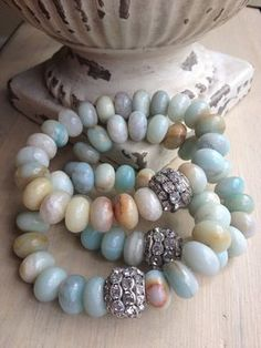 Chunky gemstone beach style blues rhinestone bling perfect layering bracelet from MarleeLovesRoxy on Etsy, $42.00