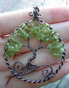 Peridot and Copper Tree of Life Wire Wrapped Pendant Jewelry