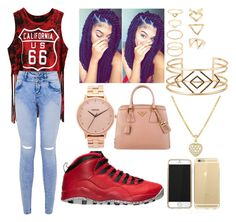 """Going Out"" by imghtbeeblue ❤ liked on Polyvore featuring Retrò, Nixon, Forever 21, Stella & Dot and Prada"