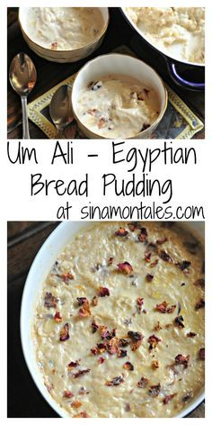 """Um Ali literally means by """"Ali's mother"""" and it is a delicious dessert from Egypt. a cross between Baklava and bread pudding, the creaminess and the crunch of nuts makes it absolutely worth those calories Egyptian Bread, Egyptian Food, Arabic Dessert, Arabic Food, Arabic Sweets, Köstliche Desserts, Delicious Desserts, Dessert Recipes, Egyptian Desserts"""