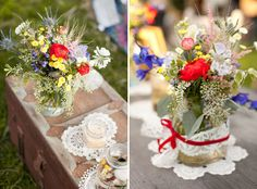 vases wrapped in lace and doilies