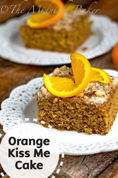 This orange-flavored fruit and nut cake is a great fall dessert! Easy and delicious, this Orange Kiss Me Cake recipe has a hint of citrus flavoring and cinnamon combined with a tasty nutty texture.