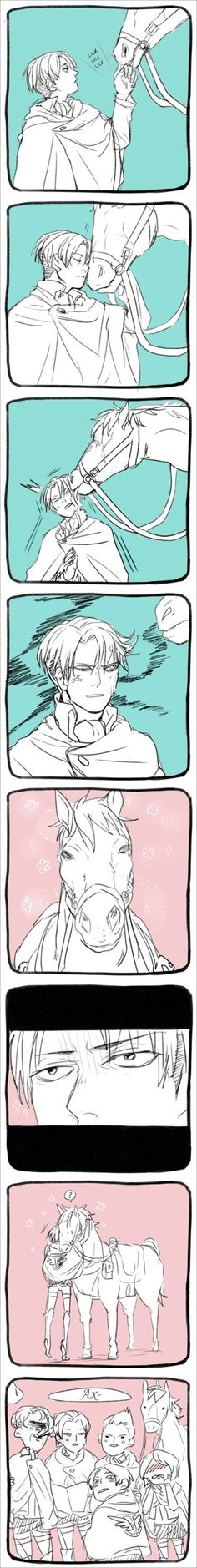 Eren: Oh god babe you love the horse more than me? Levi: No. *grabs Eren, gets on horse, rides of into the sunset with his bae* Petra: WHAT THE FUCK?!