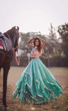 Mumbai Lehenga Shopping Guide. Green blue ruffles lehenga with pink blouse from Papa Dont Preach. Click on image for price. #frugal2fab