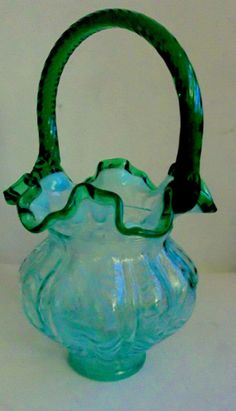 Fenton Aqua Opalescent Fern Emerald Green Basket