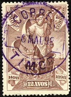 "Timor 1898 Scott 50 violet brown ""Archangel Gabriel, the Patron Saint"" Vasco da Gama Issue: Common Design Types Violet Brown, Archangel Gabriel, Dutch East Indies, Coast Australia, Patron Saints, Stamp Collecting, Postage Stamps, Stamps, Everything"