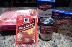 Crock pot pork Chops  4 whole, thick cut, bone-in pork chops   1 envelope onion soup mix   1-1/2 c of chicken broth   1 can of cream of chicken soup   1 envelope dry pork gravy mix