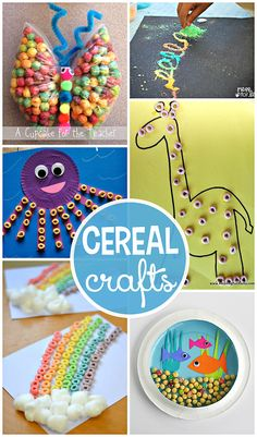 Fantastic Kids Crafts Using Cereal (Cheerios, fruit loops, kix, and honeycomb!) | CraftyMorning.com