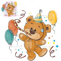 Vector illustration of a brown teddy bear in a cardboard hat and with a whistle surrounded by balloons. Print, template, design element for greeting cards and invitations to a party Illustration , Tatty Teddy, Brown Teddy Bear, Cute Teddy Bears, Birthday Wishes, Birthday Cards, Happy Birthday, Balloon Birthday, Bear Birthday, Urso Bear