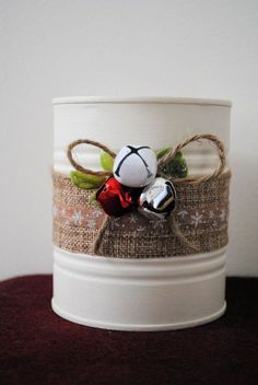Painted Tin Cans Christmas Decor Christmas by ALittleDabWillDoYou